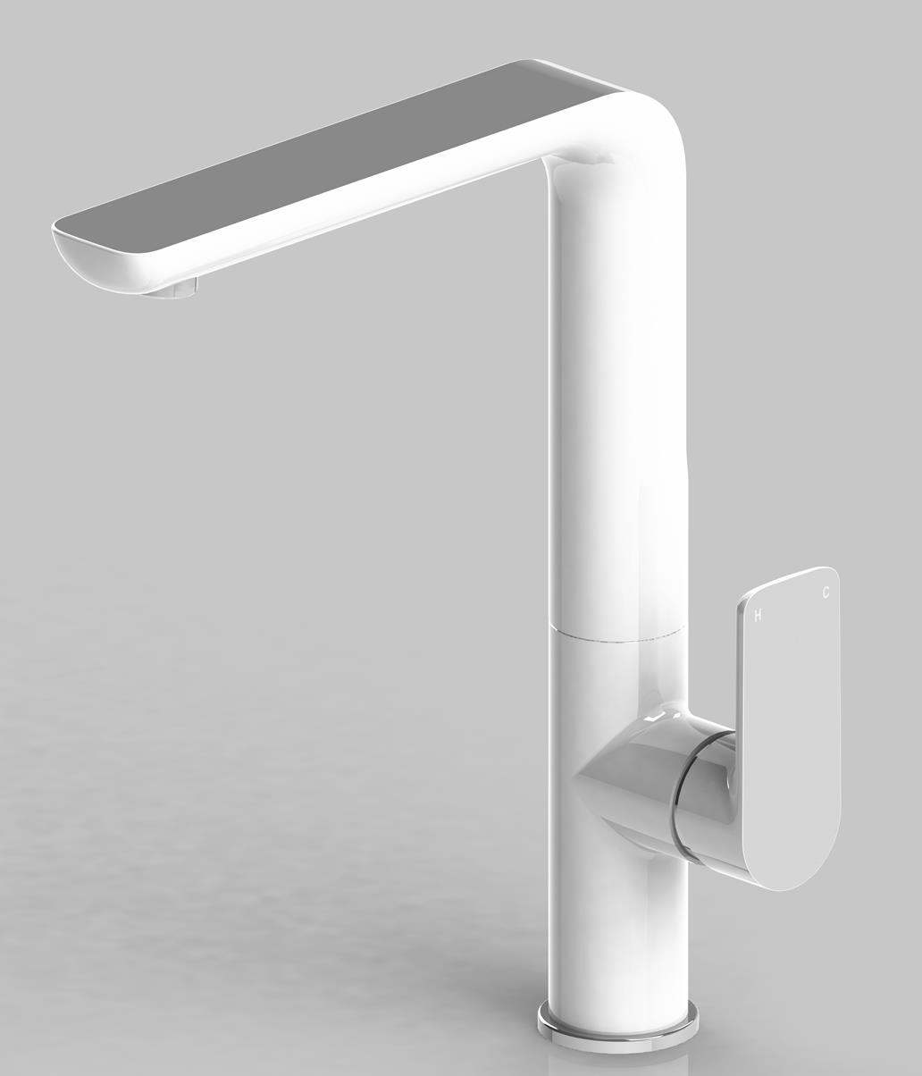Ken S Plumbing Supplies Bathroom And Plumbing Supplies Bassini Sarre White Chrome Sink Mixer